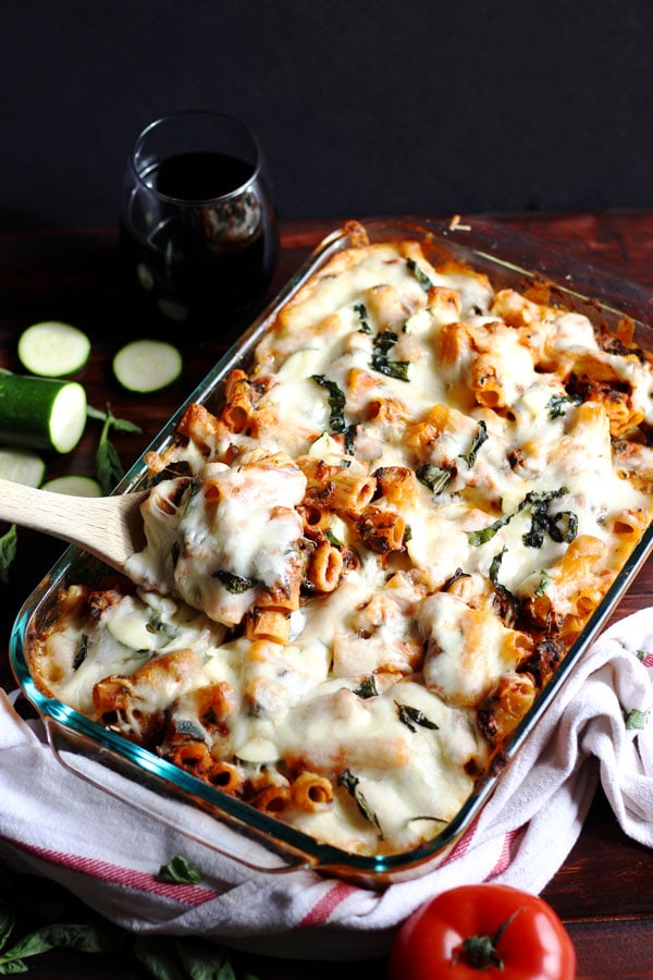 Cheesy Baked Red-Wine and Basil Rigatoni + Spinach and Zucchini