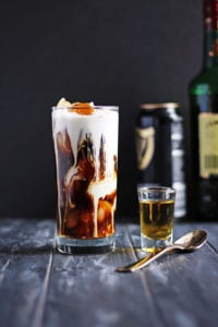 Irish Cold Brew + Cream and Sugar. The perfect St. Patrick's Day cocktail with cold brew coffee, Irish whiskey and Guinness. thewoodenskillet.com