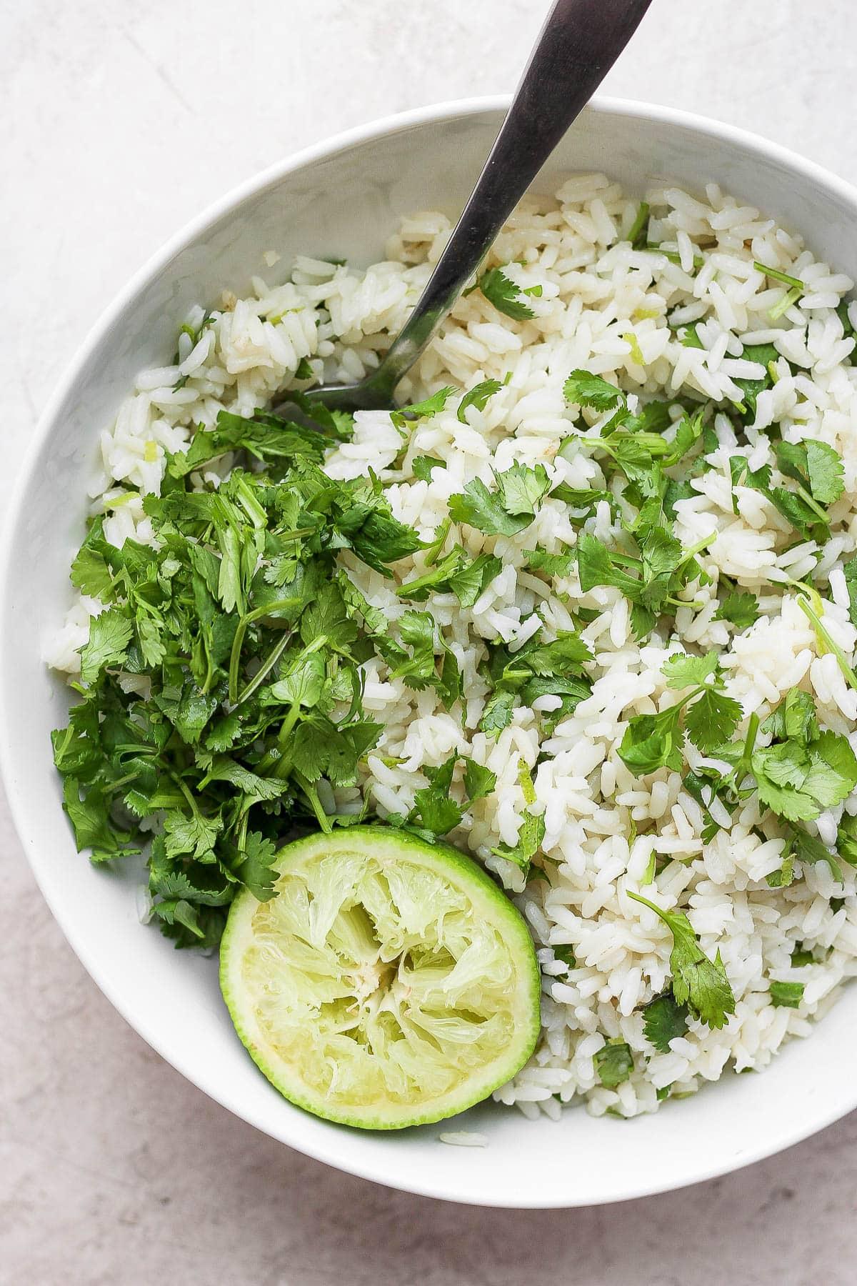 Bowl of cilantro lime rice.