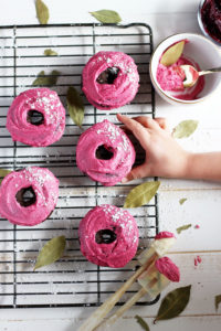 Vegan Chocolate Donut + Pink Beet Coconut Butter Cream Frosting - perfect recipe for Easter or Valentine's Day! thewoodenskillet.com #foodphotography