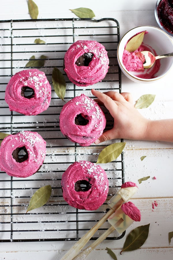 Vegan Chocolate Donut + Pink Beet Coconut Butter Cream Frosting