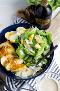 Ghee + Turmeric Chicken Caesar Salad - ready and on your table in 15 minutes. thewoodenskillet.com #foodphotography