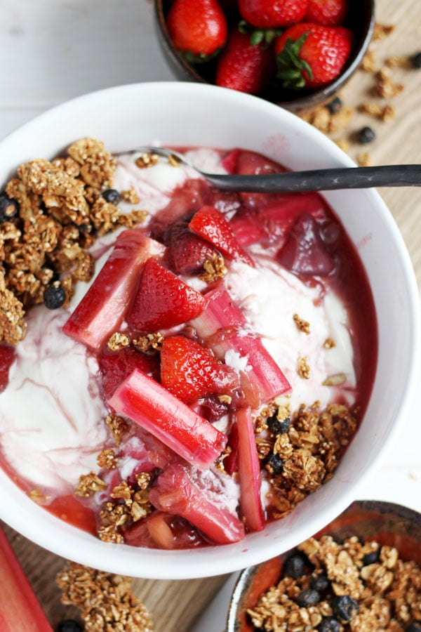 Braised Strawberry Rhubarb Compote + Yogurt and Granola