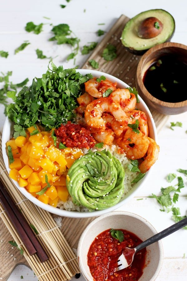 Spicy Shrimp, Mango and Avocado Sushi Bowl