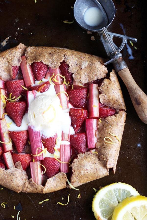 Strawberry Rhubarb Galette + Vanilla Bean Ice Cream