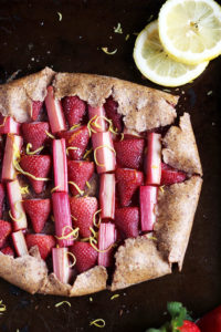 Strawberry Rhubarb Galette + Vanilla Bean Ice Cream - thewoodenskillet.com #foodphotography