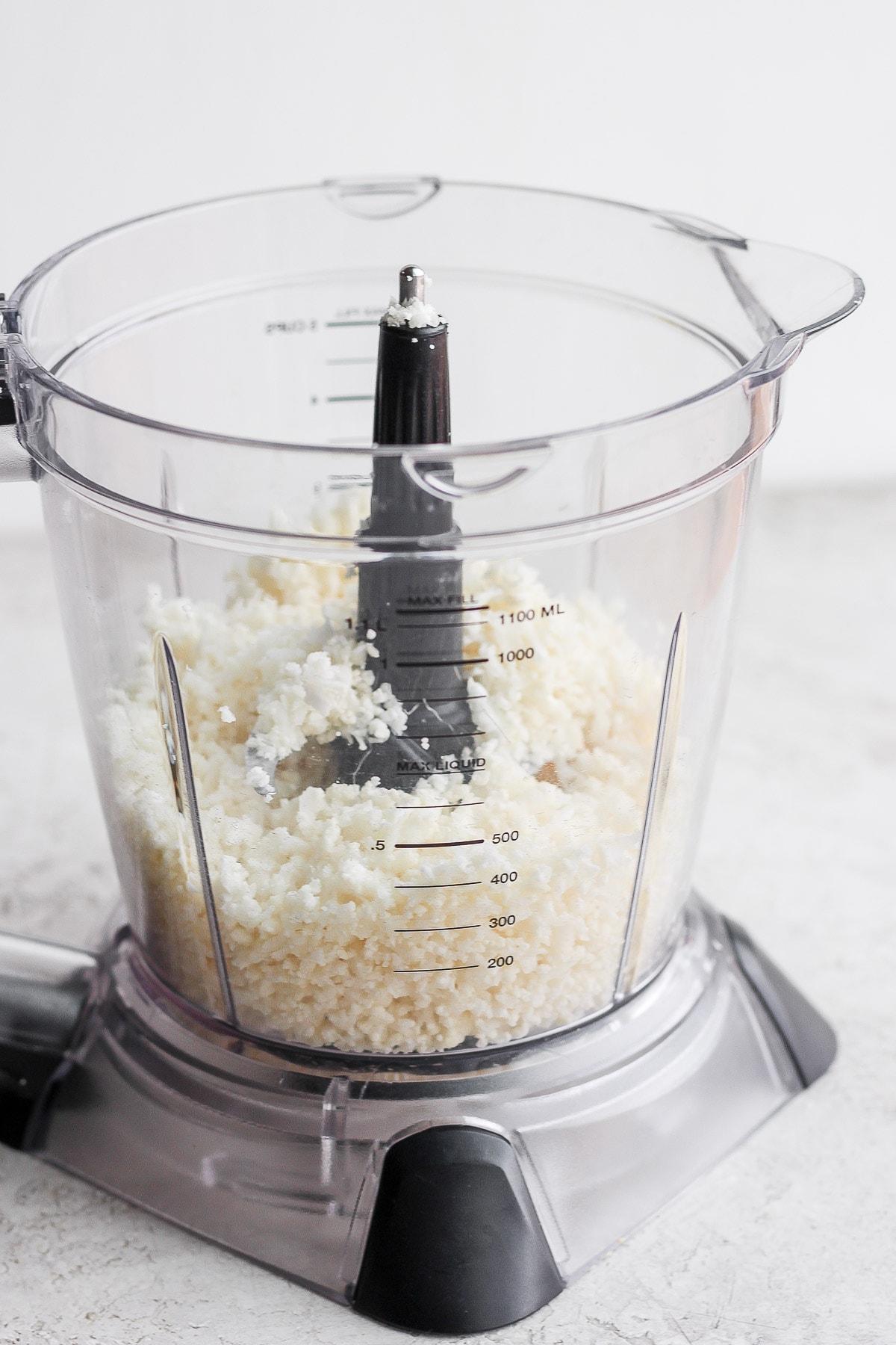 Cauliflower rice in a food processor.