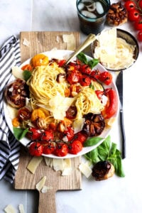 Deconstructed Roasted Garlic + Fresh Basil. The best summer pasta dish! Easy and quick to make and tastes exactly like homemade marinara!