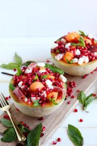 Fresh Melon Mint Caprese Salad + Pomegranate - thewoodenskillet.com