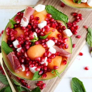 Fresh Melon Mint Caprese Salad + Pomegranate - thewoodenskillet.com