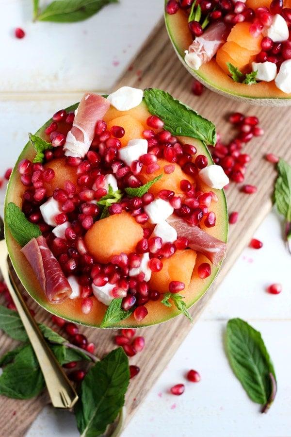 Fresh Melon Mint Caprese Salad + Pomegranate