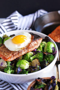 Crispy Pan-Seared Salmon + Charred Broccoli and Brussel Sprouts - a healthy, delicious dinner for the weeknight or weekend!