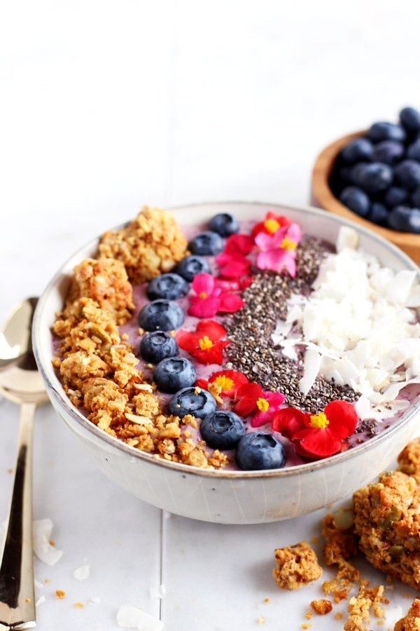 Coconut Blueberry Smoothie Bowl + Chia Seeds
