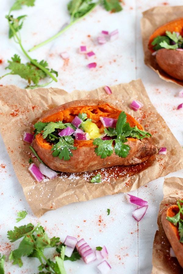 Ghee and Cilantro Stuffed Sweet Potato