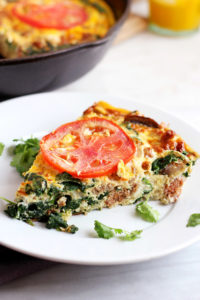 Sunday Morning Sausage and Mushroom Fritatta - the perfect weekend breakfast or make ahead for meal planning! #whole30 thewoodenskillet.com