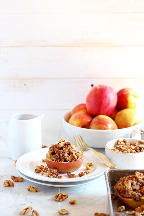 Vegan Twice Baked Maple Pecan Apples