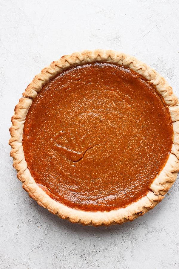 A cooked pumpkin pie.