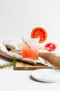 Citrus Paloma Mocktail with Thyme - a beautiful and simple mocktail (or cocktail) for New Year's, or any celebration! #whole30