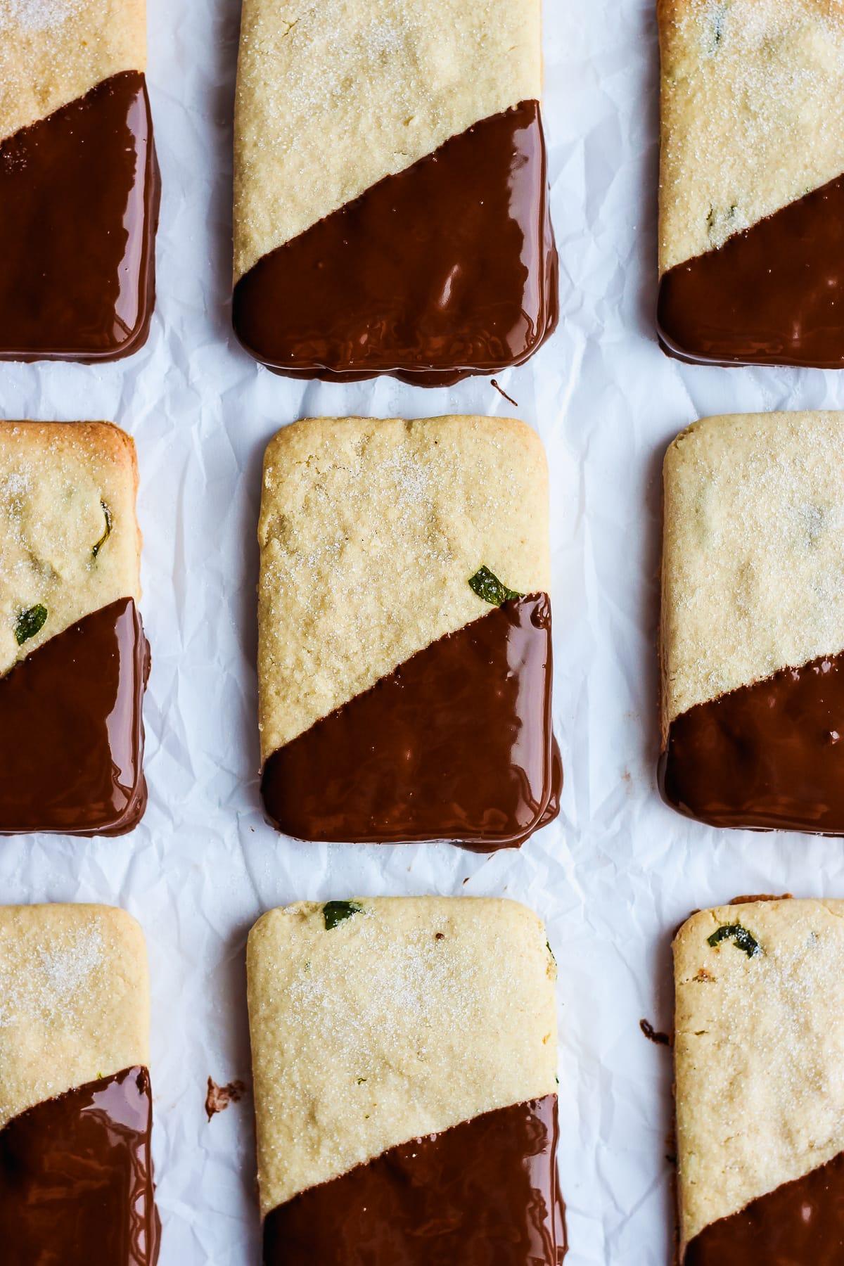 Mint Chocolate Vegan Shortbread Cookies