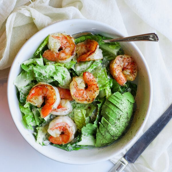 Easy Shrimp Caesar Salad (Whole30) - a quick and easy lunch or dinner that is ready in minutes! #whole30
