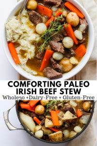 Comforting Irish Stew - the most comforting pot of simmering stew EVER! Hearty, delicious and so easy to make! Makes perfect leftovers too! #irishstew #stpatricksday #irishrecipes #whole30recipes #paleorecipes #dairyfreerecipes #glutenfreerecipes #healthyrecipes