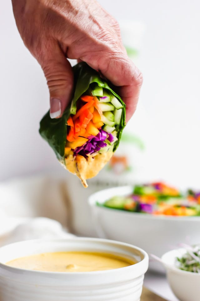 Raw Rainbow Wrap with Ginger Tahini Dressing