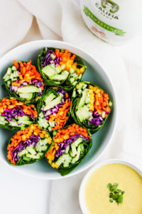 Raw Rainbow Wrap with Ginger Tahini Dressing - a light and delicious meal that is #vegan #raw and #whole30