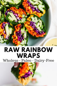 Raw Rainbow Wraps + Ginger Tahini Dressing - a clean, delicious wrap that is packed with amazing ingredients! #whole30 #whole30recipes #whole30lunch #makeaheadrecieps #tahinirecipes #raw #vegan #plantbased