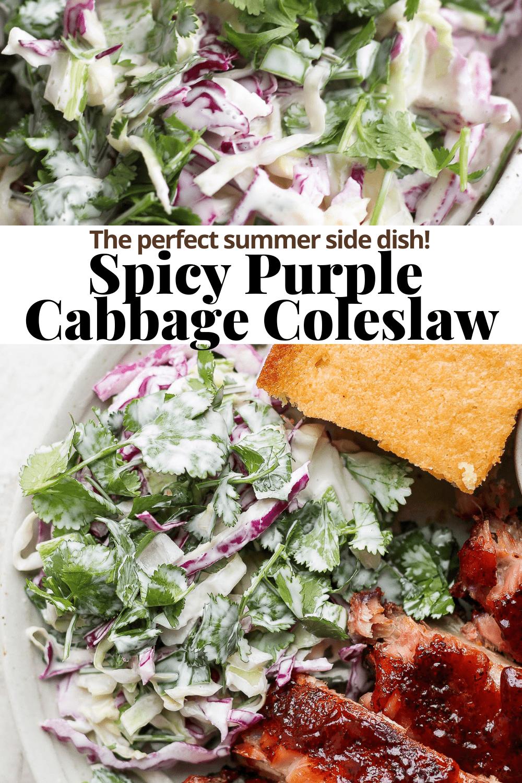 Spicy purple cabbage coleslaw Pinterest Pin.