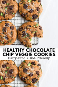 Healthy Chocolate Chip Cookies with Spinach, Carrots and Zucchini - a fun and delicious way to sneak in some healthy veggies!! #kidfriendlycookies #sneakyveggies #dessert #healthydessert #healthyveggiecookies #spinachcookies #dairyfreerecipes #dairyfreecookies #veggiecookierecipe