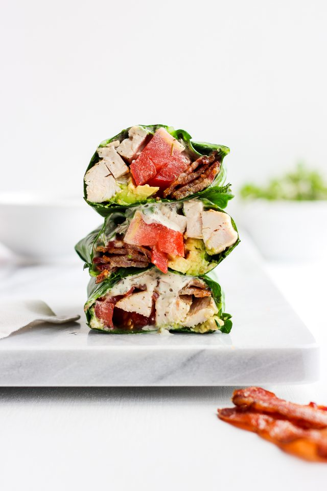 Chicken Bacon Club Collard Green Wrap