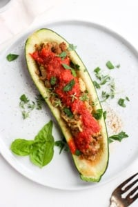 Healthy Italian Sausage Stuffed Zucchini - the perfect way to use your summer zucchini! #whole30 #dairyfree
