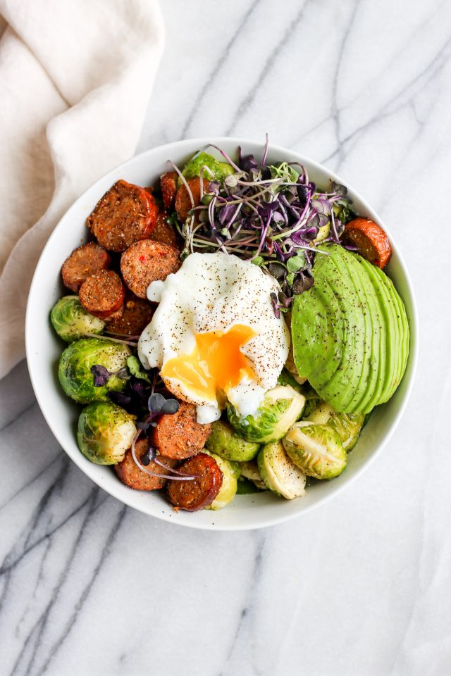 20 Minute Chorizo and Brussel Sprout Weeknight Dinner Bowl