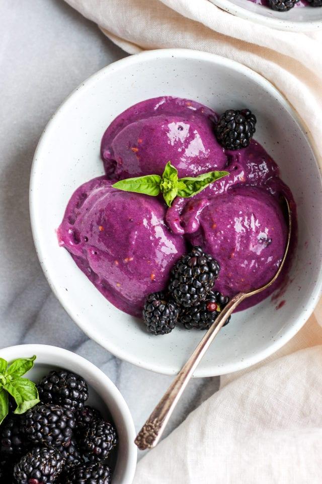 Creamy Blackberry Basil Nice Cream