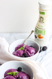 Creamy Blackberry Basil Nice Cream - a light and delicious dessert that is dairy-free and vegan! #healthydessert #vegan #dairyfree