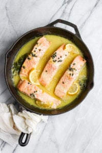 Creamy Lemon Caper Salmon Skillet - a delicious and creamy weeknight meal your whole family will love!! #whole30 #paleo #salmon #weeknightdinner
