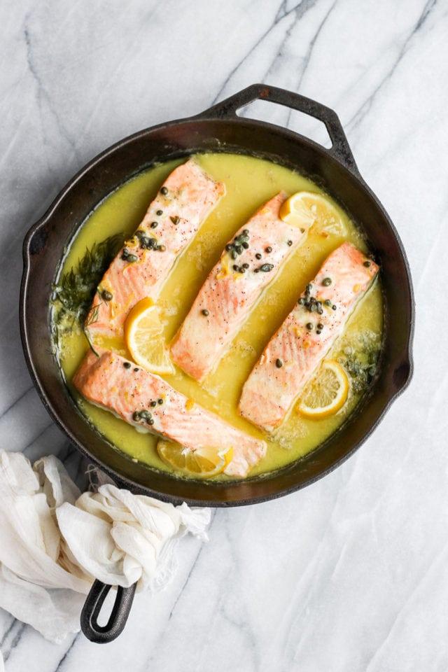 Creamy Lemon Caper Salmon Skillet