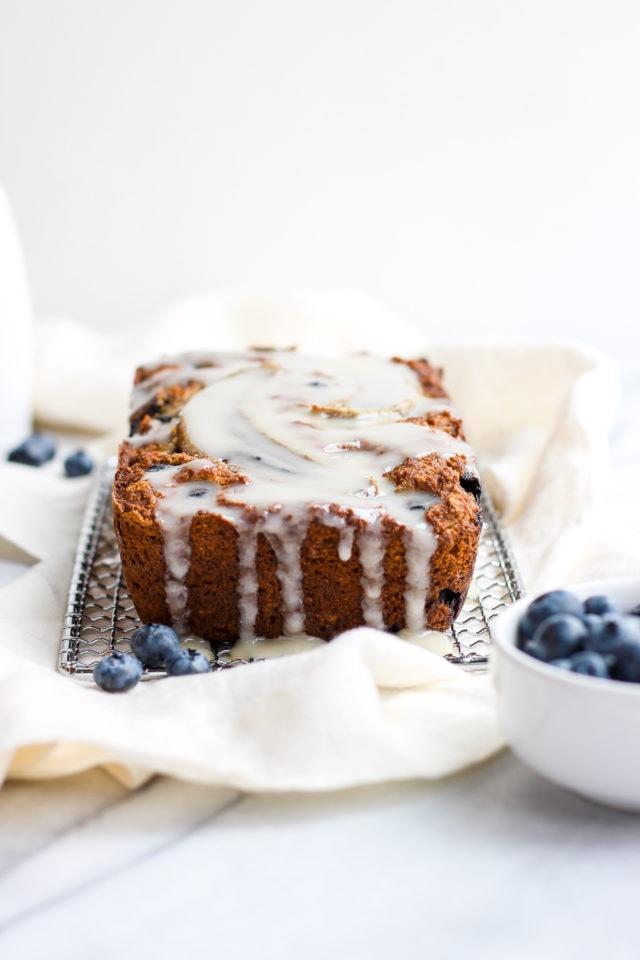 Paleo Blueberry Muffin Bread + Vanilla Glaze