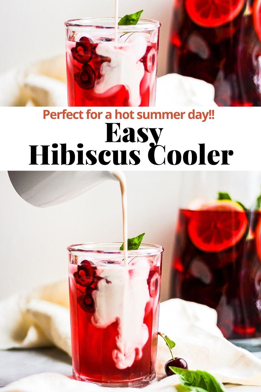 Hibiscus cooler pinterest pin.