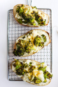 Cheesy Broccoli Twice Baked Potatoes - a delicious side dish for any meal that is Whole30, Paleo and Vegan!! #whole30 #vegan #broccolicheese #paleo #dairyfree
