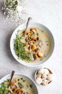 Dairy Free Cream of Mushroom Soup - a simple and delicious soup that is perfect on its own or in your favorite holiday recipes! #dairyfree #thanksgiving #creamofmushroom #christmas