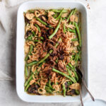 Dairy-Free Green Bean Casserole - the classic holiday side dish made with dairy-free cream of mushroom soup! So delicious! #thanksgiving #christmas #greenbeancasserole #dairyfree