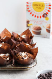 Healthy Chocolate Pumpkin Zucchini Muffins - these paleo-friendly muffins are the perfect easy Thanksgiving desert or a fun kid-friendly breakfast with hidden veggies!! #thanksgiving #paleo #paleomuffins #kidfriendly