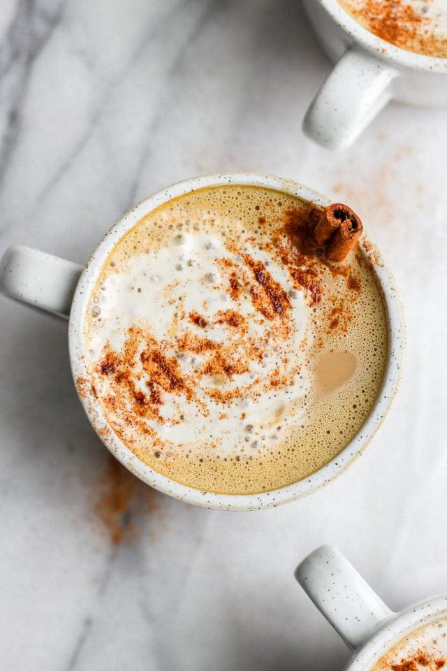 Top shot of a pumpkin spice latte in a mug.