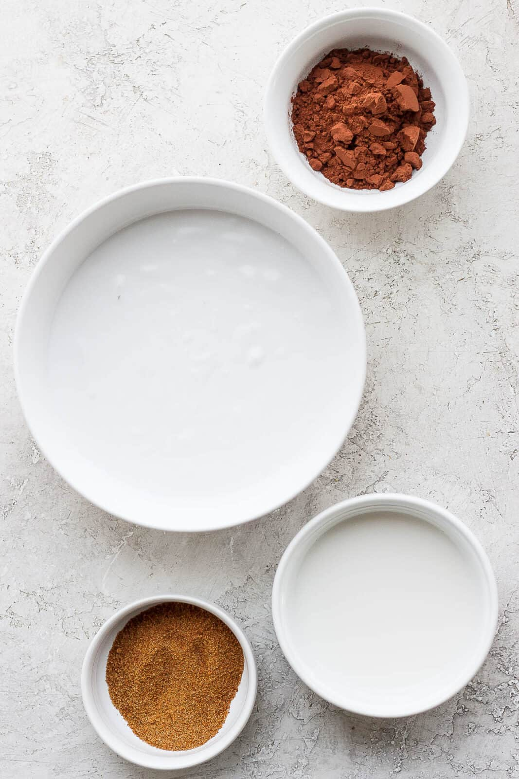 Ingredients all separated in small bowls.
