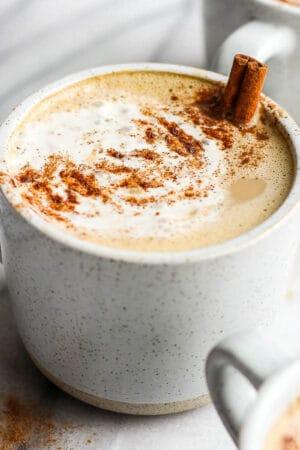 Mug of a pumpkin spice latte.