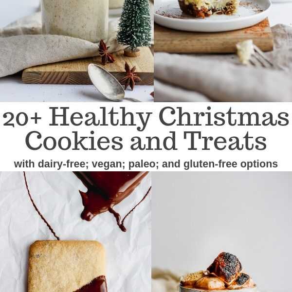 20 + Healthy Christmas Cookies and Treats - with vegan, dairy-free, paleo and gluten-free options you are sure to find your new favorite holiday treat!! #vegandesserts #healthydesserts #healthychristmascookies #paleochristmascookies #veganchristmascookies #glutenfreechristmascookies #healthyholidaytreats