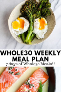 Whole30 Weekly Menu Plan - a weeks worth of breakfast, lunch, dinner and snack! #whole30 #whole30weeklymealplan #weeklymealplan #whole30recipes
