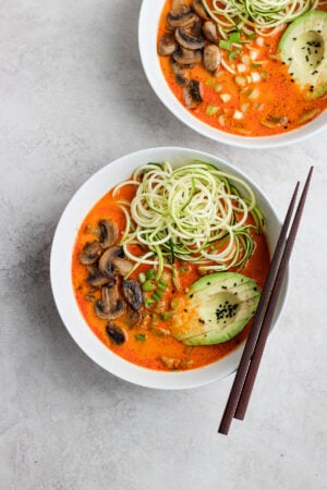 Easy Thai Mushroom Zoodle Soup - a simple and delicious, plant-based soup that is packed with flavor!!!! #plantbasedrecipes #whole30recipes #whole30soup #paleorecipes #veganrecipes