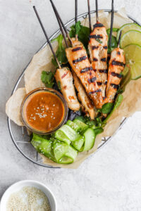 Thai Chicken Skewers with Creamy Almond Sauce - a delicious, clean lunch or dinner option! #whole30 #whole30recipes #chicken #easyweeknightdinner #healthyrecipes #healthychickenrecipes #peanutsauce #chickenskewers